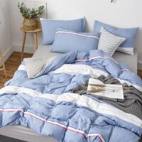水洗棉四件套日式无印简约良品条纹格子床单被套床上用品