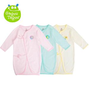 【加拿大童装】 Gagou Tagou新宝宝纯棉条纹绑带睡袍