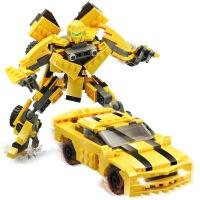 古迪儿童DIY益智趣味拼装积木变形机器人金刚汽车黄蜂金钢玩具