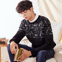 唐狮冬装新款毛衣男士韩版圆领毛线衫针织衫长袖上衣头套衫