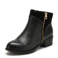Fondberyl/菲伯丽尔 冬款牛皮中跟粗跟侧拉链短靴女鞋FB54112437