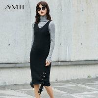 【领券下单立减120元】Amii[极简主义]过膝秋装新款修身大V领绑带无袖连衣裙11774781
