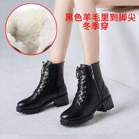 马丁靴女英伦风靴子女鞋子女学生韩版百搭冬季短靴中跟雪地靴牛皮