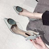 凉鞋女2019夏季新款时尚尖头高跟鞋欧美百搭网红一字带粗跟女鞋