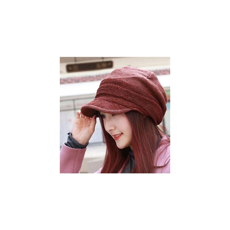 新款时尚女士针织八角帽 大码护耳时装帽画家帽 加绒保暖鸭舌帽女帽