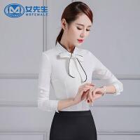 【年货节 直降到底】女先生衬衫女长袖2020秋装新款修身女职业装系带蝴蝶结白色衬衣