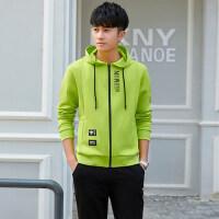 韩版男士运动套装青少年连帽运动外套休闲运动修身套装男卫衣