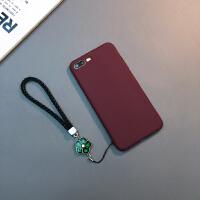 简约iphone Xs Max手机壳苹果7/8plus硅胶软套6sp挂绳X防摔XR潮女 6/6s 4.7寸(酒红色)