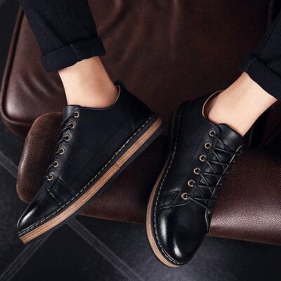 休闲鞋男秋季新款休闲皮鞋韩版板鞋男学生透气鞋子男正装鞋