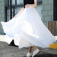 2019春季雪纺半身裙子女仙女夏大摆半身长裙a字百褶裙中长款