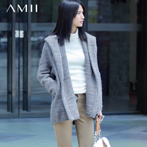 【品牌团 1件7折/2件5折】AMII[极简主义]冬装新品翻领连帽插袋中长款毛衣外套女装
