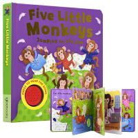 【首页抢券300-100】Five Little Monkeys 5只小猴子 欧美经典儿歌童谣发声书 英语启蒙认知 学数