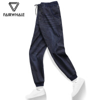马克华菲牛仔裤男2020夏季修身韩版休闲青年男士直筒新款长裤子