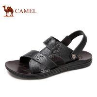 camel骆驼男鞋 夏季男凉鞋 日常休闲牛皮舒适两穿鞋