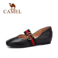 camel 骆驼女鞋 秋季新款 百搭浅口单鞋女 复古方头玛丽珍鞋