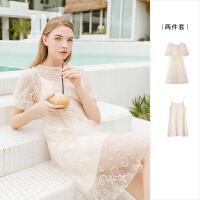 【5折价269】Lagogo/拉谷谷2019年夏季新款泡泡袖连衣裙两件套女IALL883C34