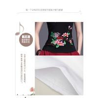 中国风女装上衣 夏装民族风绣花短袖t恤女刺绣修身大码打底衫