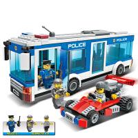 古迪 积木 塑料拼插组装车城市警察军事模型拼装拼搭男孩礼物亲子互动游戏儿童玩具用品