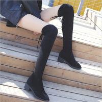 20190920172850626秋冬季新款小辣椒粗跟过膝长靴女士黑色粗跟女靴低跟长筒靴子