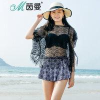 包邮 茵曼新款性感聚拢女士比基尼三件套 带罩衫泳装女9872512304