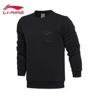 李宁卫衣男士2017新款运动生活系列套头衫长袖保暖圆领运动服AWDM323