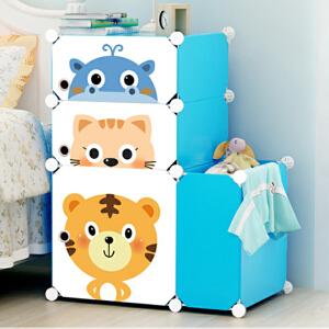 御目 床头柜 简易卡通床头柜简约现代组装塑料收纳柜卧室柜儿童储物柜子迷你衣柜 创意家具