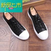 新品上市夏季新款男鞋韩版休闲板鞋帆布青年潮流复古鞋增高透气豆豆鞋