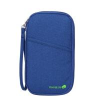 维莱 印刷护照夹手提卡包长款护照包多功能票据包手拿包 蓝色