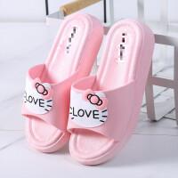拖鞋女夏季厚底外穿网红高跟韩版学生可爱猫咪家用浴室凉拖鞋沙滩
