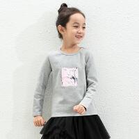 amii童装冬装新款女童加绒T恤中大童印花上衣儿童圆领打底衫+
