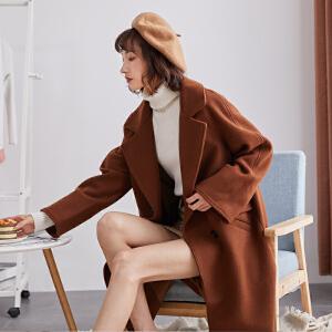 【2件3折价258.9元】唐狮秋冬季新款流行大衣宽松中长款羊毛呢子外套女赫本风反季