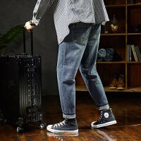 [2.5折价109元】唐狮春季新款直筒牛仔裤男宽松潮男士牛仔裤加厚潮男裤子