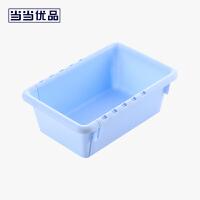 当当优品 可伸缩抽屉收纳盒 塑料厨房餐具整理分隔盒 蓝色小号