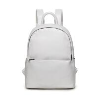 韩版新款皮质双肩包女防水电脑包背包大学生书包旅行包大容量 米白色 可装寸电脑A本