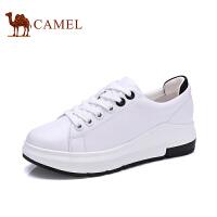 骆驼牌女鞋 新品时尚纯色小白鞋女厚底系带纯色百搭单鞋