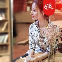 预售【魅儿】百草园 中袖唐装改良旗袍上衣女式夏季新款2018原创GH118 白色
