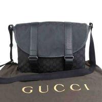 Gucci古驰男士黑色双G暗纹印花斜挎包374423 467891 黑色