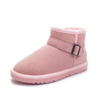 雪地靴女短筒搭扣短靴冬季加绒保暖棉靴子平底学生低筒女鞋面包鞋