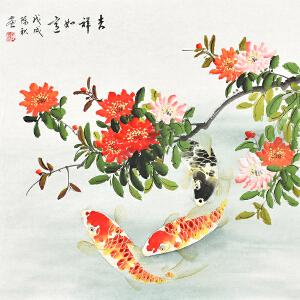 当代著名画家陈秋66 X 66CM花鸟画gh02143