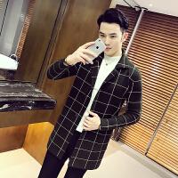 秋季男士潮流大格子开衫中长款针织毛衣韩版修身青年男生外衣套