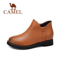 camel/骆驼女鞋 冬季新款 英伦风复古加绒短靴子牛皮低跟内增高女靴