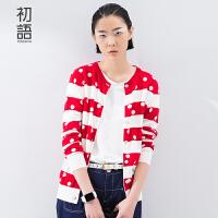 初语 春季新品 开衫条纹波点毛针织衫长袖针织衫女86103*010