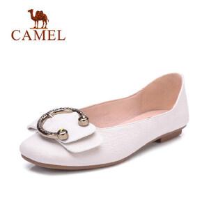 Camel 骆驼平底单鞋女款方头平跟休闲鞋学生一脚蹬PU女鞋舒适孕妇妈妈鞋