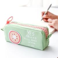 【包邮】三年二班●文具 夏日水果帆布女生大容量拉链笔袋 多功能文具袋