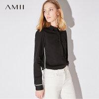 【会员节! 每满100减50】Amii[极简主义]春秋新品撞色条纹显瘦个性上衣女衬衫11764034