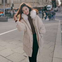 棉衣女中长款2018冬装新款韩版大毛领学生宽松工装bf外套加厚 卡其色 M