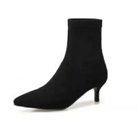高跟袜靴女细跟短靴弹力靴 2019秋冬款尖头纯色百搭绒面短靴裸靴