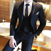 西服套装男士秋冬新郎结婚礼服韩版修身商务正装三件套工装西装男