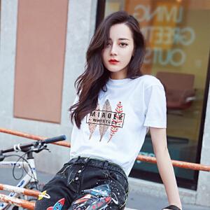 夏季女士白色短袖T恤女装新款韩版显瘦宽松学生半袖