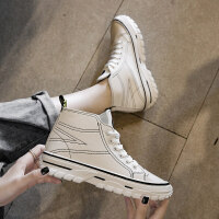 高帮鞋女潮嘻哈韩版女鞋2019新款秋鞋粗跟低跟时尚系带英伦短靴女